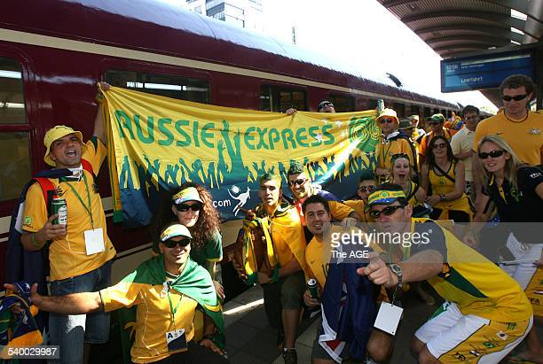 Soccer 2006 Thousands of Aussie fans arrive from Frankfurt by train at Kaiserslautern station before the World Cup match between Australia and Japan...