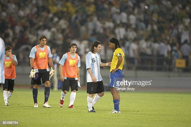 2008 Summer Olympics Argentina Lionel Messi and Brazil Ronaldinho after Men's Soccer Semifinal at Beijing Workers' Stadium Beijing China 8/19/2008...