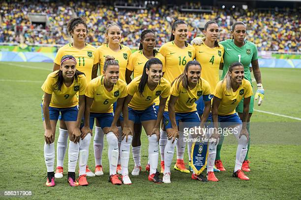 2016 Summer Olympics Brazil National team posing for team photo before Women's Group Stage Group E match vs China at Olympic Stadium Rio de Janeiro...