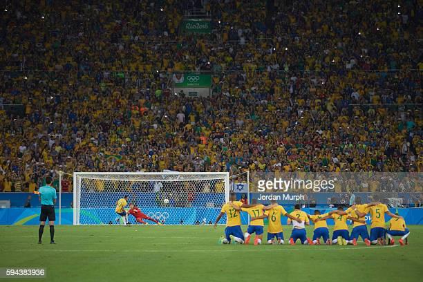 Summer Olympics: Rear view of Brazil Neymar scoring game winning penalty kick vs Germany goalie Timo Horn during Men's Final Gold Medal match at...