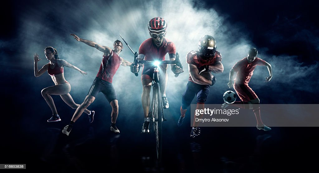 Soccer, American football, Javelin, Cycle, Athletics : Stock Photo