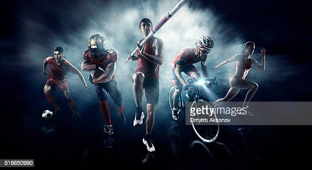 Soccer, American football, Pole vaulting, Cycle, Athletics