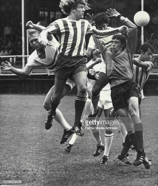 Soccer Ampol Cup at Wentworth Park Later match St George Vs Pan Hellenic 7 players in one bunch after cornet kick Jim Izatt February 25 1973