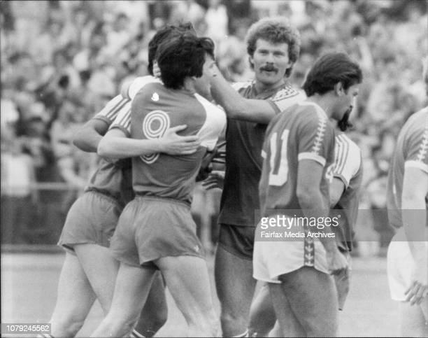 Soccer at Pratten Park Sydney Olympians vs St George after goal. May 15, 1983. .