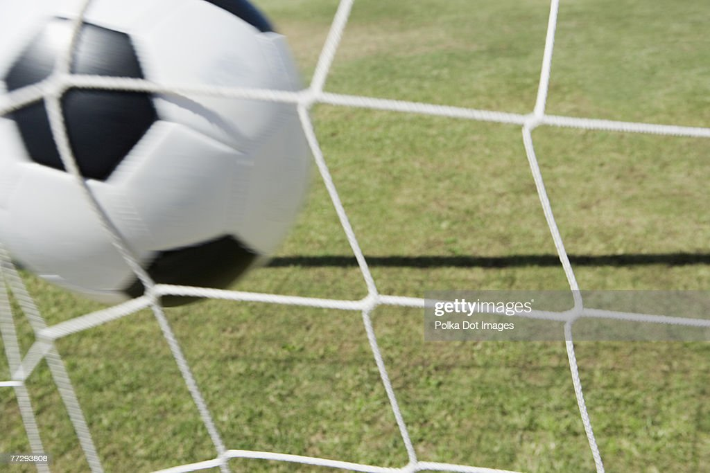 Soccer ball and goal : Stock Photo