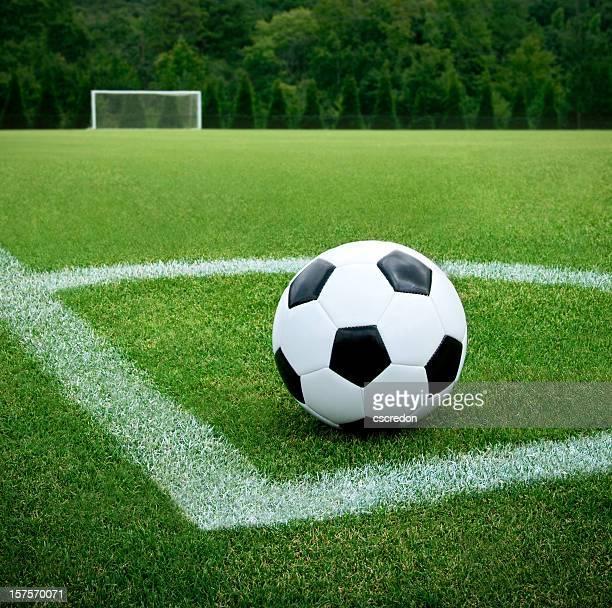 Soccer ball in corner or soccer field