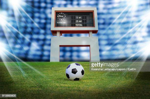 soccer ball on field - scoring stock pictures, royalty-free photos & images
