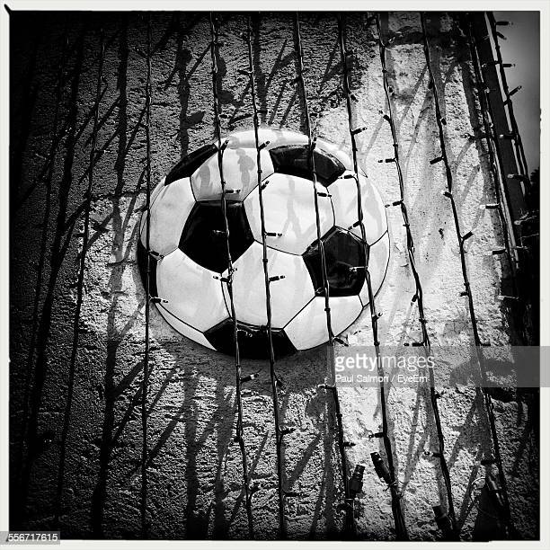 Soccer Ball Painted On Wall With Lighting