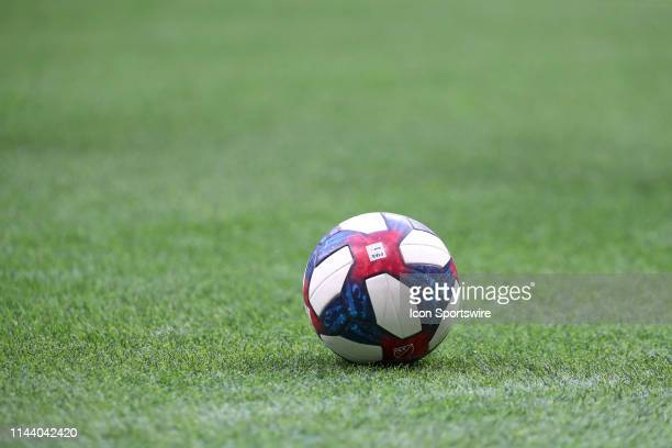 Soccer ball sits on the pitch during the Vancouver Whitecaps match against the Portland Timbers at BC Place on May 10, 2019 in Vancouver, Canada.