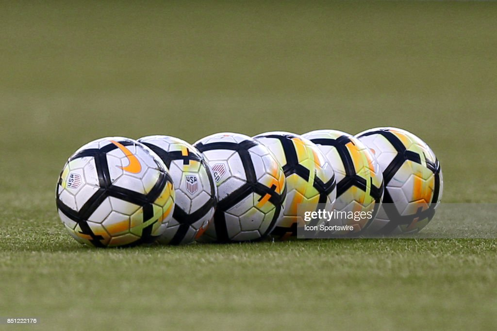 Soccer balls before the Lamar Hunt US Open Cup final between the New York Red Bulls and Sporting Kansas City on September 20, 2017 at Children's Mercy Park in Kansas City, KS. Sporting Kansas City won 2-1.