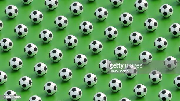 soccer balls low poly pattern background - pattern stock pictures, royalty-free photos & images