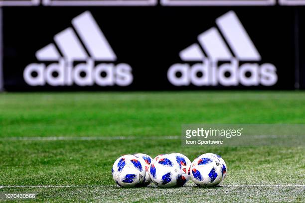 Soccer balls on the pitch prior to the MLS Cup between the Atlanta United FC and the Portland Timbers on December 8 2018 at the MercedesBenz Stadium...