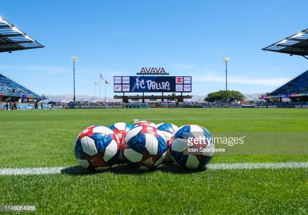 Soccer balls ready for warm ups before the match between FC Dallas and San Jose Earthquakes on Saturday June 08 2019 at Avaya Stadium in San Jose...