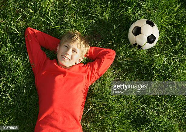 Soccer boy rest