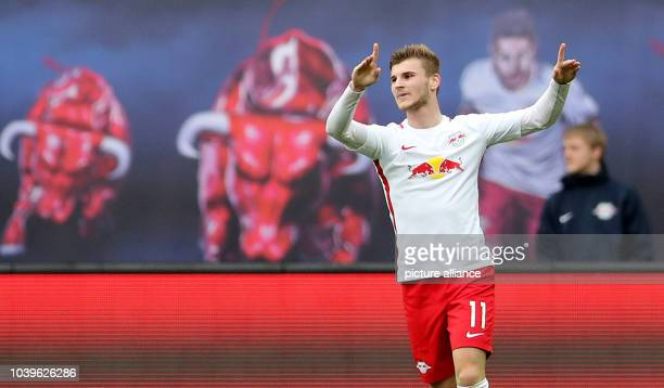 Bundesliga RB Leipzig SC Freiburg 29th Gameday at the Red Bull Arena Leipzig Germany 15 April 2017 Leipzig's Timo Werner celebrates after the goal...