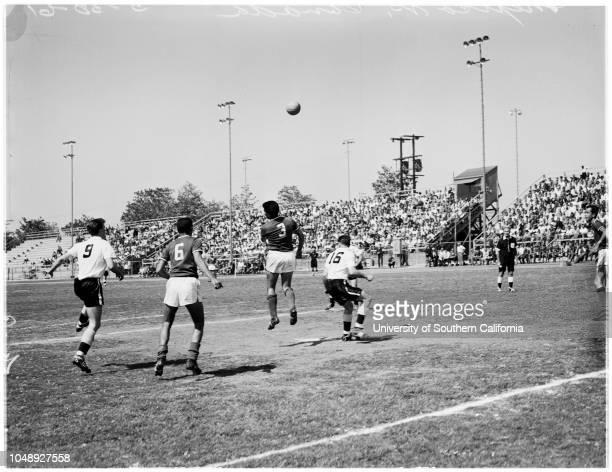 Soccer Canada versus Mexico 30 May 1961 Antonio ZamanoEverado AcebesRaul ChanesTony CrispReno Vilio Caption slip reads 'Note Mexico dark shirts...