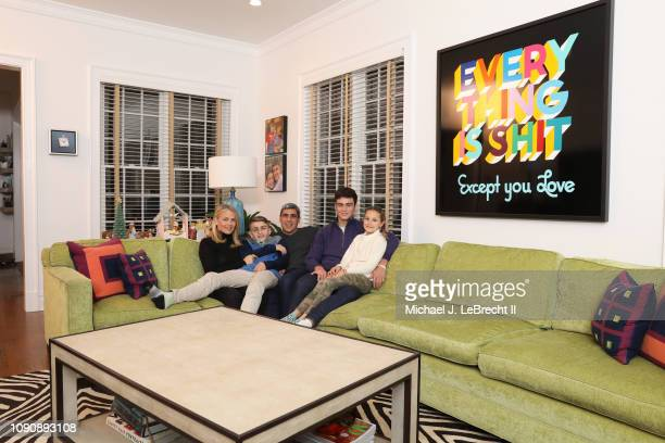 Casual portrait of New York City FC director of football operations Claudio Reyna and his wife Danielle Egan Reyna posing with their children...