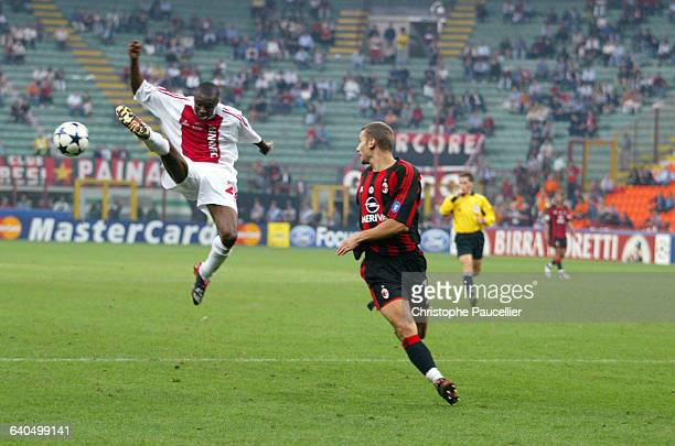 Soccer Champions League First Round Season 20032004 AC Milan vs AFC Ajax Andriy Chevchenko and Abubakari Yakubu Football Ligue des Champions 1er tour...