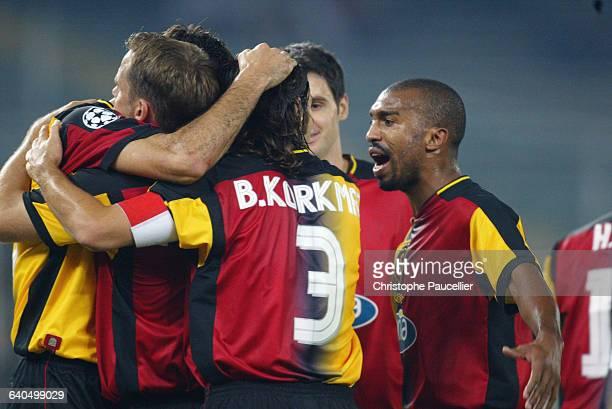 Soccer Champions League, First Round, Season 2003-2004 : Juventus FC vs Galatasaray SK. Goal Galatasaray SK team-mates celebrate their goal....