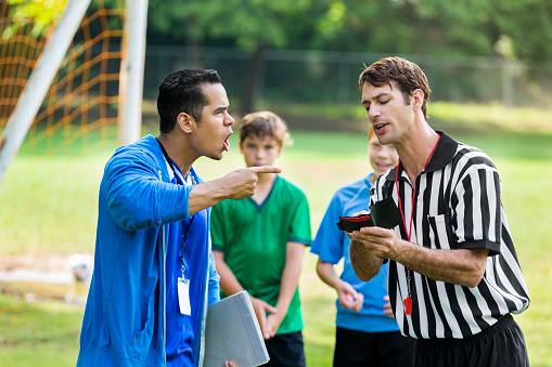 Soccer coach yells at referee over bad call 613216614