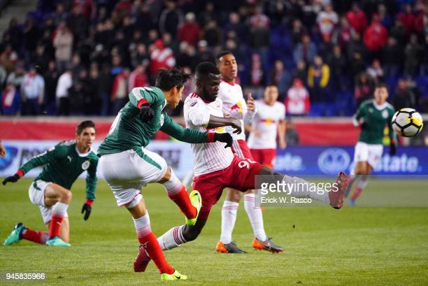 CONCACAF Champions League New York Red Bulls Kemar Lawrence in action vs Club Deportivo Guadalajara during second leg of semifinal at Red Bull Arena...