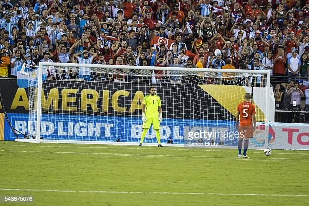 Copa America Chile Francisco Silva in action penalty kick vs Argentina Sergio Romero during final match at MetLife Stadium East Rutherford NJ CREDIT...