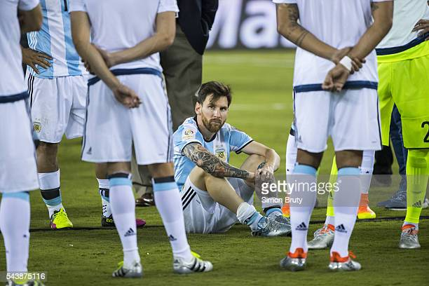 Copa America View of Argentina Lionel Messi during presentation ceremony after Argentina vs Chile final match at MetLife Stadium East Rutherford NJ...