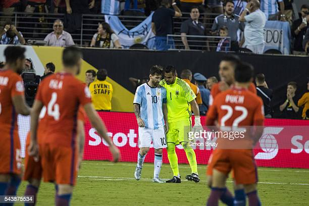 Copa America View of Lionel Messi and Sergio Romero after missing penalty kick during Argentina vs Chile final match at MetLife Stadium East...