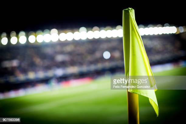 soccer corner flag in the field - soccer competition stock pictures, royalty-free photos & images