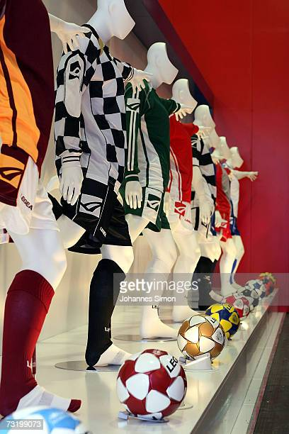 Soccer dresses and footballs of Italian manufacturer Legea displayed at the ISPO fair for sporting goods on February 4 2007 in Munich Germany ISPO...