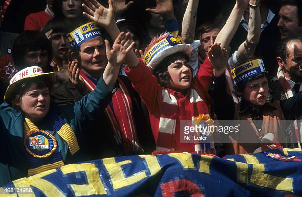 FA Cup Final Arsenal FC fans in stands during game vs Liverpool FC at Wembley Stadium London England 5/8/1971 CREDIT Neil Leifer