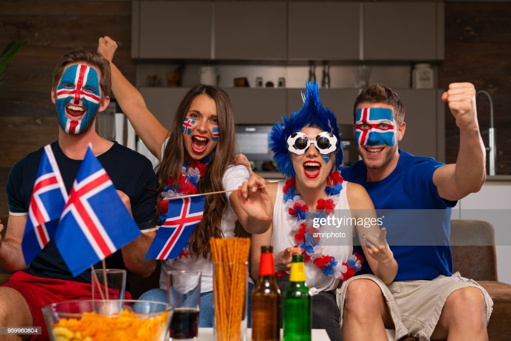 soccer fan party at home : Stock Photo