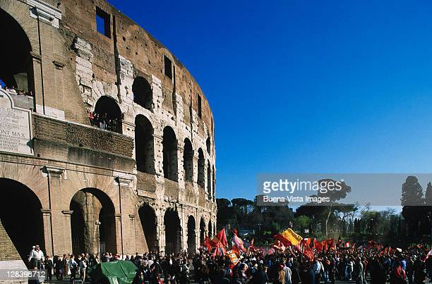 Soccer fans at Colosseum, Rome, Italy