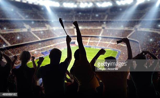 soccer fans at stadium - fan enthusiast stock photos and pictures