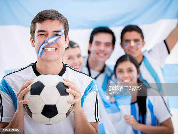 Soccer fans cheering for Argentina