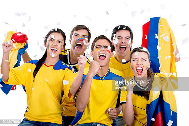 Soccer fans cheering for Colombia