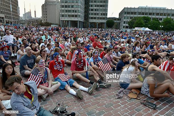 Soccer fans gathered on Boston's City Hall Plaza to watch and cheer on the US Womens National Team in their Final World Cup Match to defeat Japan 52...