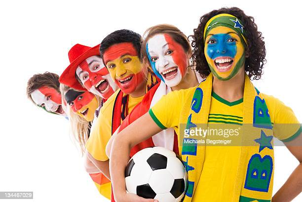 Soccer fans of different nations, soccer ball