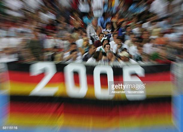 Soccer Fans of Germany seen during the match between Argentina and Germany for the Confederations Cup 2005 at the Frankenstadium on June 21, 2005 in...