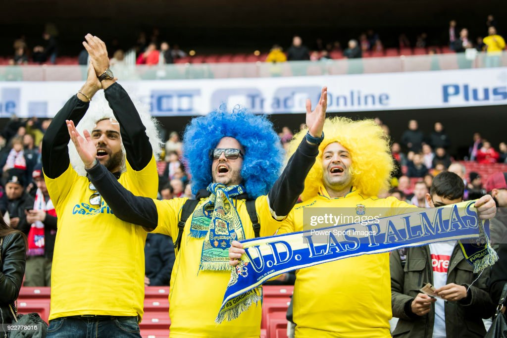 Soccer fans show their supports to their team UD Las Palmas prior to the La Liga 2017-18 match between Atletico de Madrid and UD Las Palmas at Wanda Metropolitano on January 28 2018 in Madrid, Spain.