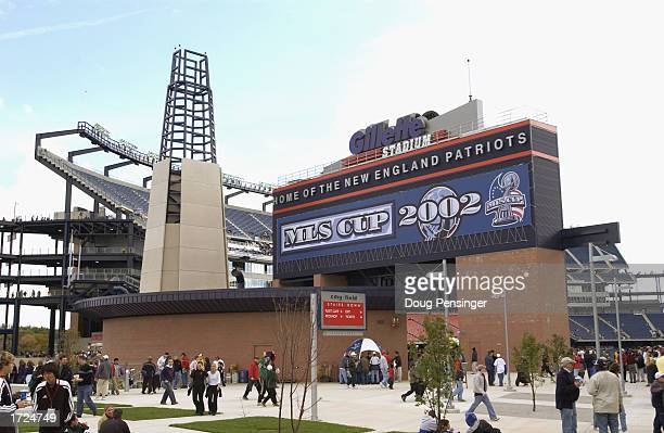 Soccer fans walk outside the entrance of Gillette Stadium before the MLS Cup game between the Los Angeles Galaxy and the New England Revolution on...