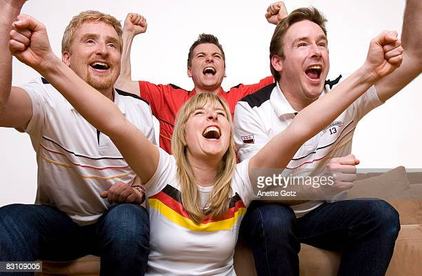 Group of friends shouting and cheering