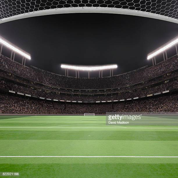 soccer field and stadium - stadion stockfoto's en -beelden