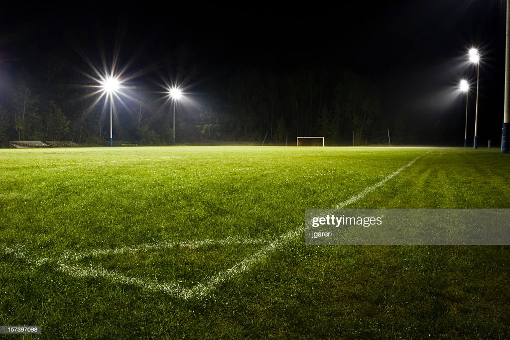 grass field at night. Soccer Field At Night Grass I