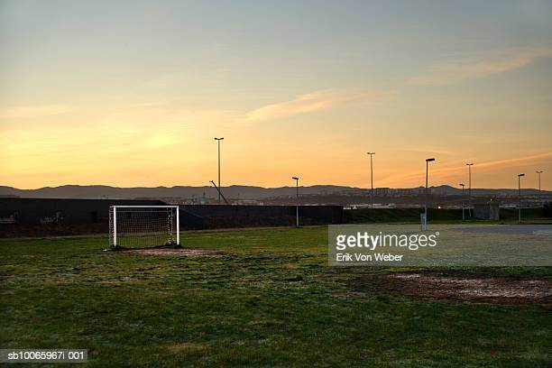 Soccer field at sunset