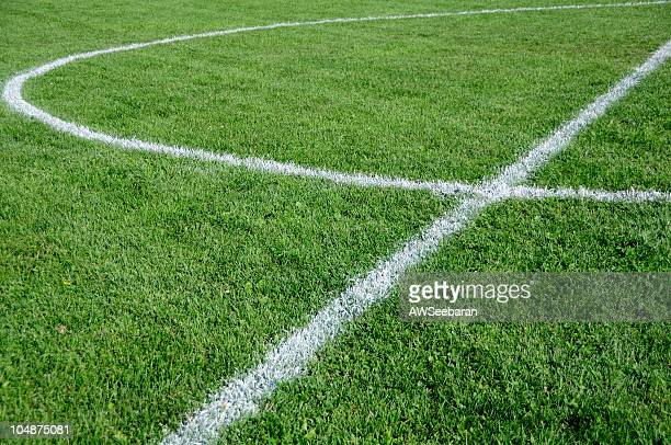 Soccer field close up with white lines
