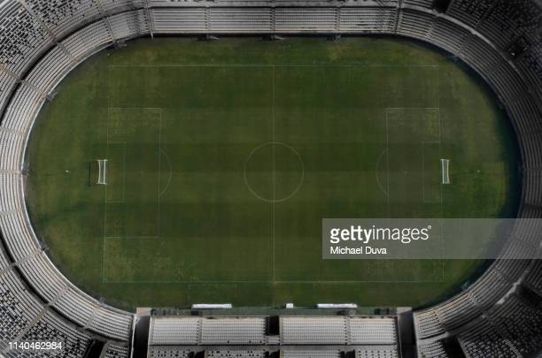 soccer field directly above - stadium stock pictures, royalty-free photos & images
