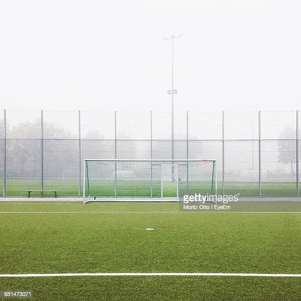 Soccer Field In Foggy Weather