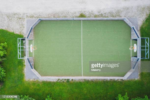 soccer field or football ground. aerial view, directly above. - football pitch stock pictures, royalty-free photos & images