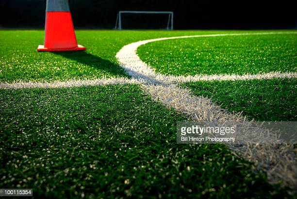 Soccer field stadium turf with cone